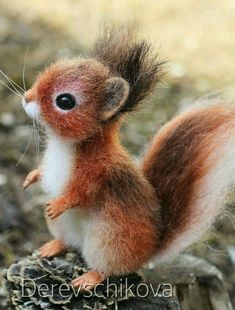 The little squirrel Needle Felted Animals, Felt Animals, Needle Felting, Animals And Pets, Funny Animals, Animals Tumblr, Felt Baby, Cute Little Animals, Cute Animal Pictures