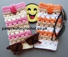 Free PDF crochet pattern for sunglasses case http://www.patternsforcrochet.co.uk/sunglasses-case-usa.html #patternsforcrochet