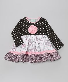 Take a look at this Black & Pink Paris Maggie Dress - Infant & Girls by Castles & Crowns on #zulily today!