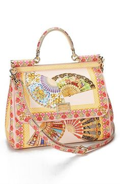 Dolce amp Gabbana  Miss Sicily  Fan Print Satchel available at  Nordstrom  Tote Handbags ce5e46a0b4
