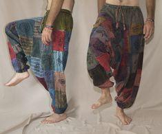 Festival Patchwork Cotton Harem Pants with pockets for men and women - Light hippie pants Harem Pants Men, Cotton Harem Pants, Yoga Pants, Woodstock Hippies, Aladdin Pants, Hippie Pants, Unisex, Hippie Style, Hippy