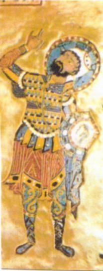Detail of a Centurion from a Byzantine Icon, 11th century