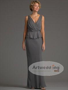 V Neck Floor Length Chiffon Sheath Mother of the Bride Dress
