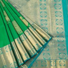 Ghanshyam Sarode Pigment Green Handwoven Kanchipuram Silk Saree with Peacock Motifs 10003481 - AVISHYA