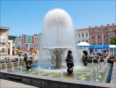 Dandelion fountain in the center of Saratov