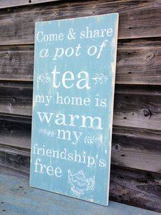 Country Kitchen Decor, Typography Sign, Duck Egg Blue Teapot on Etsy, $55.28