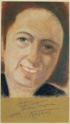 """PİRAYE'NİN PORTRELERİ  """"Zevcem, ruhurevanım Hatice Pirayende"""",  Çankırı, 1940, Kâğıt üzerine pastel, 17 x 25 cm"""
