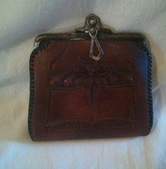 Early Antique Art Nouveau Tooled Leather by BuddysDogHouse on Etsy