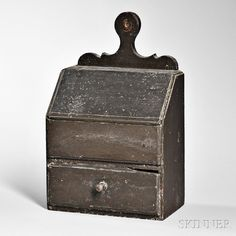 Black-painted Lidded Wall Box, America, c. thumb-molded case, lid, and…