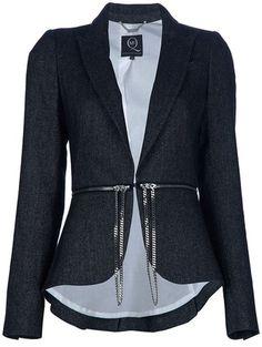 hot! (Mcq By Alexander Mcqueen Zip and Chain Belt Blazer in Black) #fashion