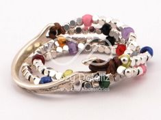 boho wrap bracelet, uno de 50 style, double strand bracelet, women leather bracelet, multicolor beaded bracelet, boho jewelry by CozyDetailz on Etsy