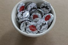 50 qty. Lips and Mustaches Buttons. $19.95, via Etsy.