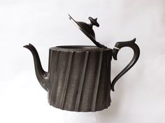 Pewter Teapot, Victorian English Art Nouveau Metal Shabby Chic, Country House…