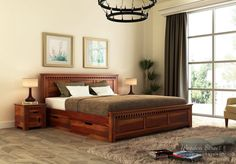Looking for a king-size bed that fits your expectation? Then Wooden Street is a place you must visit once because we have a large variety of king size beds available online or you can even get your king-size bed as customized. Wooden Bed With Storage, Bed Designs With Storage, Double Bed With Storage, Bed Storage, Beds With Storage, Box Bed Design, Bedroom Bed Design, Bedroom Furniture Design, Bed Furniture
