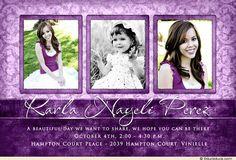 save the date quinceanera ideas | Royal Damask Quinceañera Invitation - Photos Purple Daughter