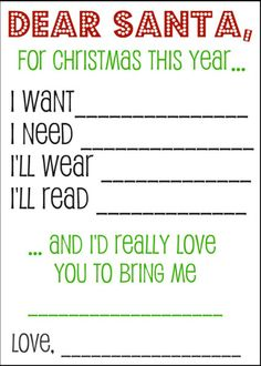 Printable Santa Wish List Adorable Dear Santa Want Need Wear Read  Christmas  Pinterest  Dear .