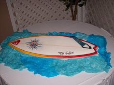 Surfboard Cake Surfboard Cake, Surf Cake, Thomas Cakes, Beach Cakes, 30th Birthday, Birthday Cakes, Shower Cakes, Party Cakes, Party Time