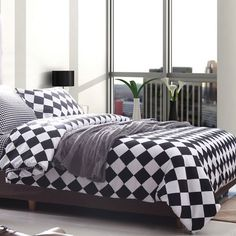 Alicemall Classic 3 Piece Bedding Set Queen Black and White Grid Comforter Cover and 2 Pillow Cases Polyester Duvet Cover Sets, Full/ Queen/ King Size Twin Bedroom Furniture Sets, Boys Bedroom Sets, Bedroom Sets For Sale, Comforter Cover, Duvet Cover Sets, Comforter Sets, Plaid Bedding, Cotton Bedding, White Bedding