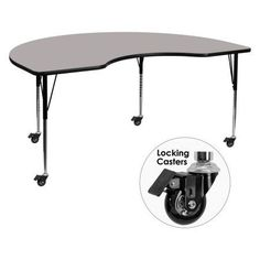 Flash Furniture Mobile 48''W x 96''L Kidney Shaped Activity Table with 1.25'' Thick High Pressure Grey Laminate Top and Standard Height Adjustable Legs, Gray
