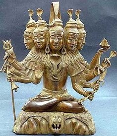 Sadashiva - Shiva's five-headed Sadashiva and Ishan forms are distinguishable by the attributes that such images carry in their hands. Sadashiva images carry trident, axe, sword, disc, fire, serpent, bell, noose, goad, and hold one hand in 'abhaya'.