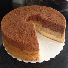 Chocolate, coffee & vanilla chiffon cake