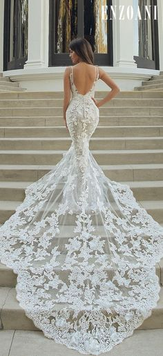 24 Trumpet Wedding Dresses That Are Fancy & Romantic ? trumpet wedding dresses sexy low back with train enzoani ? : 24 Trumpet Wedding Dresses That Are Fancy & Romantic ? trumpet wedding dresses sexy low back with train enzoani ? Wedding Dress Empire, Corset Back Wedding Dress, Sheath Wedding Gown, Western Wedding Dresses, Classic Wedding Dress, Sexy Wedding Dresses, Wedding Dress Styles, Bridal Dresses, Wedding Gowns