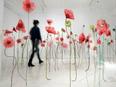 From the Battlefield series: Poppies. 2008- 2009. textile installation. various dimensions (h: 10 feet) by Fibre Artist Jannick Deslauriers