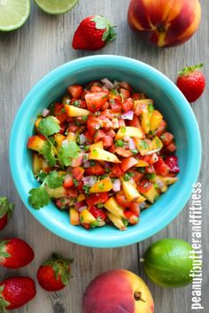 Refreshing Strawberry Peach Salsa! Beat the winter blues and channel some summer into your food with fruit salsa.  Pairs great with fish.  Calories: 69 • Fat: 0 g • Protein: 1 g • Carbs: 15 g • Fiber: 2 g • Sugar: 5 g