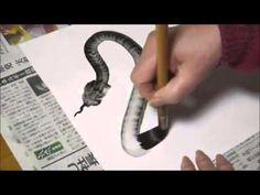 One Brush Stroke Snake Drawing