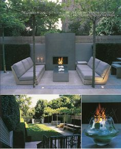 Outdoor Furniture, great patio / deck idea. love the pattern and lighting detail of this stone inset area of the garden. Fireplace outdoors!! Urban lounge great! #PinterestandDesignWeek