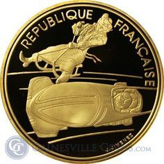 1990 France 500 Franc Proof Gold Olympic Coin - Bobsledding (.50 oz of Gold)