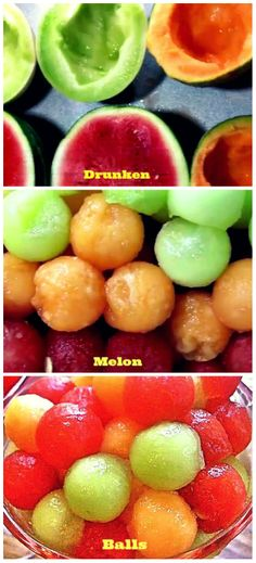 Get drunk on these Drunken Melon Balls! Who knew partially frozen, sweet melon balls lightly enhanced with pineapple juice, triple sec and raspberry vodka could be such a party hit? Party Drinks, Fun Drinks, Cocktails, Beverages, Alcohol Infused Fruit, Food Set Up, Summer Drinks, Summer Fun, Raspberry Vodka