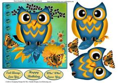 - This is an owl card topper with decoupage. to make this card topper , print on quality paper,cut out all of the pieces, an. 3d Cards, Your Cards, 3d Paper Crafts, Arts And Crafts, 3d Templates, Foto 3d, 3d Sheets, Owl Card, Owl Always Love You