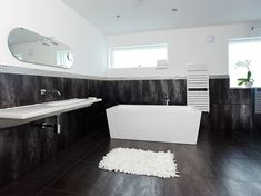 black and white bathroom interior design ideas modern contemporary . White Bathroom Interior, Black Tile Bathrooms, Small White Bathrooms, Yellow Bathroom Decor, Gray And White Bathroom, Bathroom Carpet, Black And White Tiles, Contemporary Bathrooms, White Rug