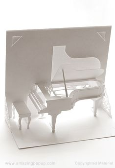 Probably the most beautiful Grand Piano popup card with inside details display Origami Cards, Origami Templates, Paper Crafts Origami, Box Templates, Diy Crafts Hacks, Diy Arts And Crafts, Hobbies And Crafts, Foam Crafts, Wedding Cards Handmade