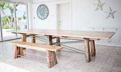 bespoke furniture:handmade reclaimed oak and stanless steel table Steel Furniture, Bespoke Furniture, Furniture Makers, Stainless Steel Dining Table, Steel Table, Dining Table With Bench, Oak Table, Reclaimed Timber, Devon