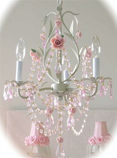 @Rosenberry Rooms is offering $20 OFF your purchase! Share the news and save!  3-Light Sage Chandelier with Pink Roses #rosenberryrooms