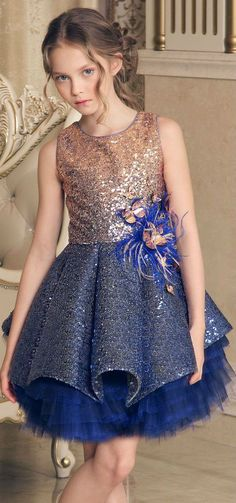 LOVE! JUNONA Girls Designer Blue & Gold Sequin Party Dress. Perfect Special Occasion Summer Party dress for a little princess. Pretty Summer Look for a stylish kid, tween and teen girls. Shop online at Childrensalon (affil) #Junona #celebrity #girlsclothing #kidsfashion #fashionkids #girlsdresses #childrensclothing #girlsclothes #girlsfashion