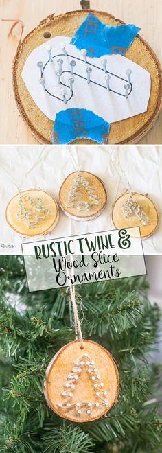 Rustic Twine and Wood Slice Christmas Ornament | DIY Homemade Ornaments | Easy Christmas Craft #christmas via @domesticallyspeaking