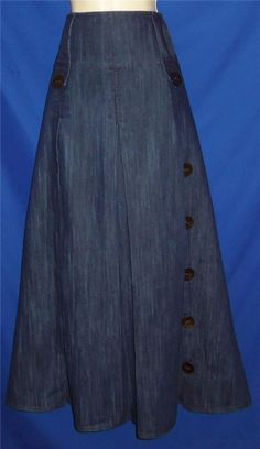 "Found in my Store...41"" L Dark Blue Denim Bohemian Boho Prairie Modest Maxi Boot Skirt M 30 waist #ELBAWADI #PeasantBoho"