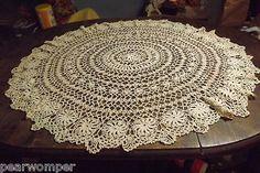 "Vintage 34"" Beige Crochet Tablecloth BEAUTIFUL All Handmade 1930's"