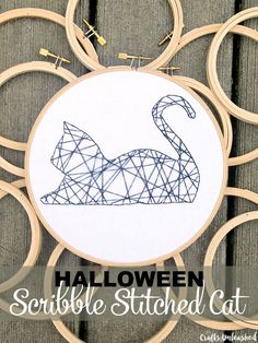 Embroidery hoop decor stitched cat Crafts Unleashed #bordar #gato #geometrico