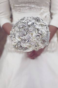 sparkling silver wedding bouquet...