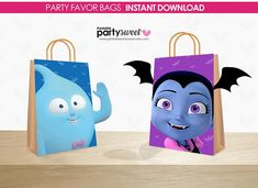 Check out our vampirina bags selection for the very best in unique or custom, handmade pieces from our shops. Baby Shower Centerpieces, Baby Shower Favors, Baby Shower Decorations, Baby Shower Invitations, Party Favor Bags, Goodie Bags, Favor Boxes, Candy Bags, Diy Wedding Favors