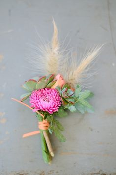 pink and succulent boutonniere, photo by Joielala http://ruffledblog.com/artsy-san-diego-wedding #grooms #boutonnieres