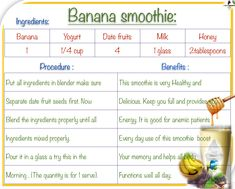 #BananaSmoothie  #Banana  #food #beverages Fruit Seeds, Milk And Honey, Smoothies, Beverages, Remedies, Banana, Nutrition, Health, How To Make