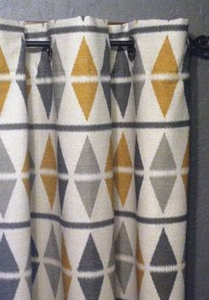 "84"" Ikat Curtains - FREE SHIPPING Two Argyle Ikat Panels with Grommets - 50""x84"" - Grey, Charcoal and Mustard on Natural on Etsy, £88.43"