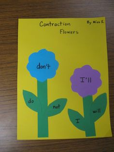 This would be a great way to learn and practice contractions with lower grade students! I think I would give them this  activity in the spring and give them one or two contractions to learn each week. At the end of the unit I'd make all their pages into a contraction book!