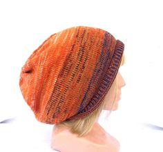 Knitted colorful wool hat, knit orange blue cap, women's autumn beanie, men's fall cap, knitting multicolor accessories, striped tam, cap by peonijahandmadeshop on Etsy