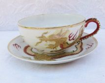 Hand Painted Porcelain Cup and Saucer, Japanese Cup and Saucer, MF Japan, Gold Dragon Cup and Saucer, Asian Porcelain,